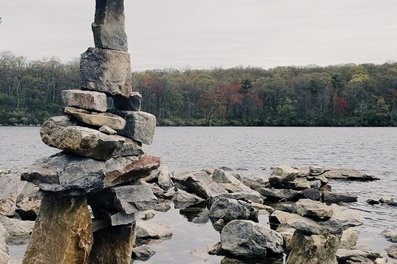 Rocks at waters edge photo